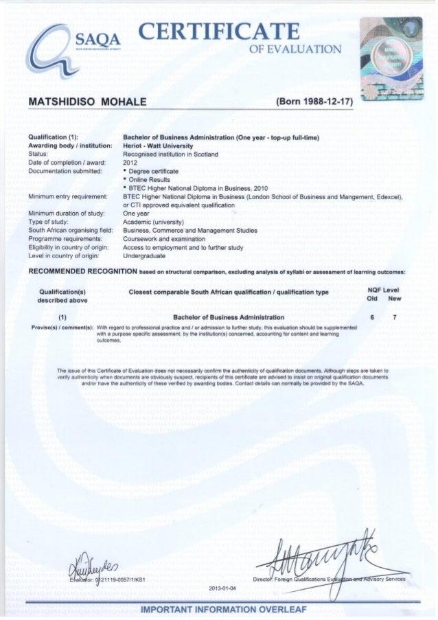 Saqa Certificate