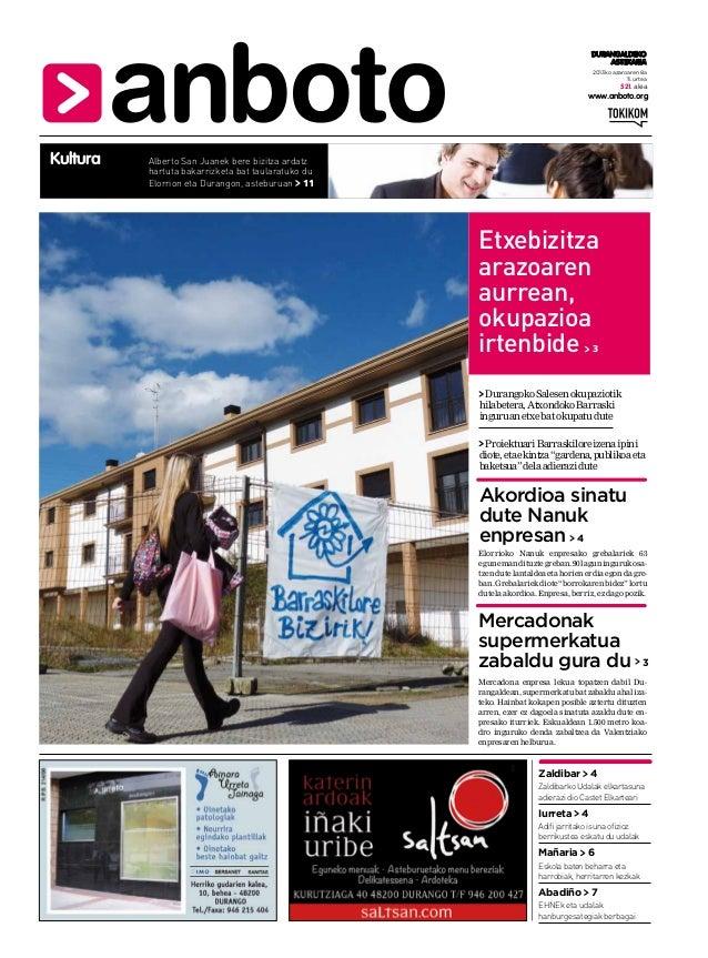 DURANGALDEKO ASTEKARIA 2013ko azaroaren 8a 11. urtea  521. alea  www.anboto.org  Kultura  Alberto San Juanek bere bizitza ...