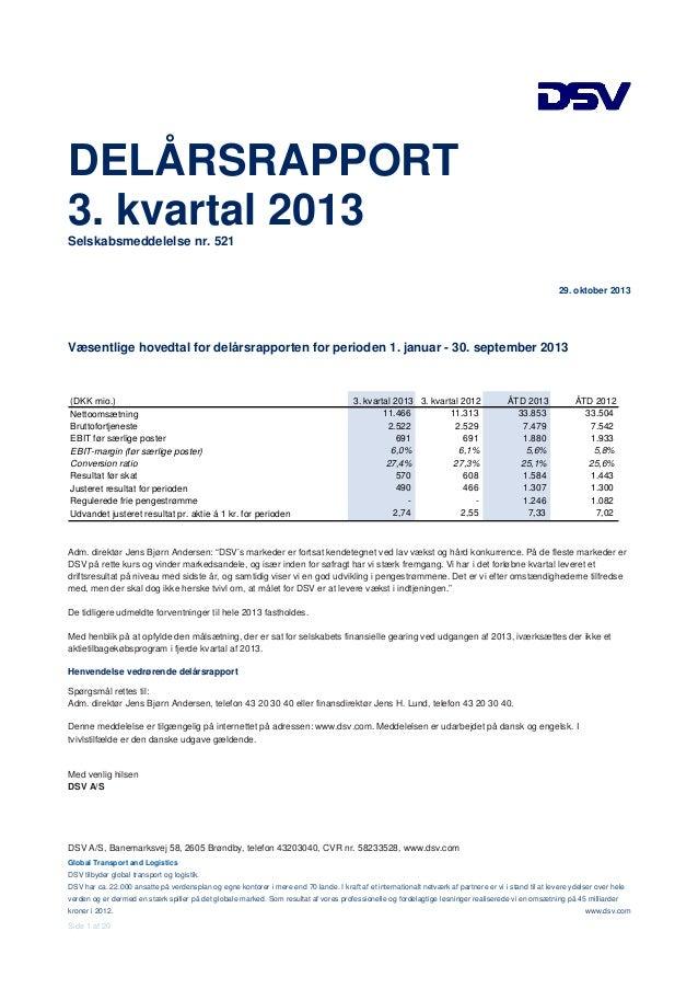 DELÅRSRAPPORT 3. kvartal 2013 Selskabsmeddelelse nr. 521  29. oktober 2013  Væsentlige hovedtal for delårsrapporten for pe...