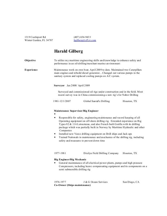 harald gilberg resume this one is up to date