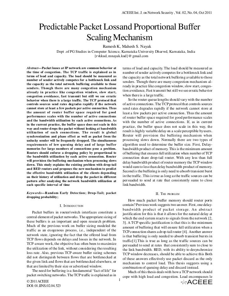 ACEEE Int. J. on Network Security , Vol. 02, No. 04, Oct 2011        Predictable Packet Lossand Proportional Buffer       ...
