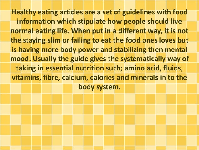 Information about healthy eating articles for Articles cuisine