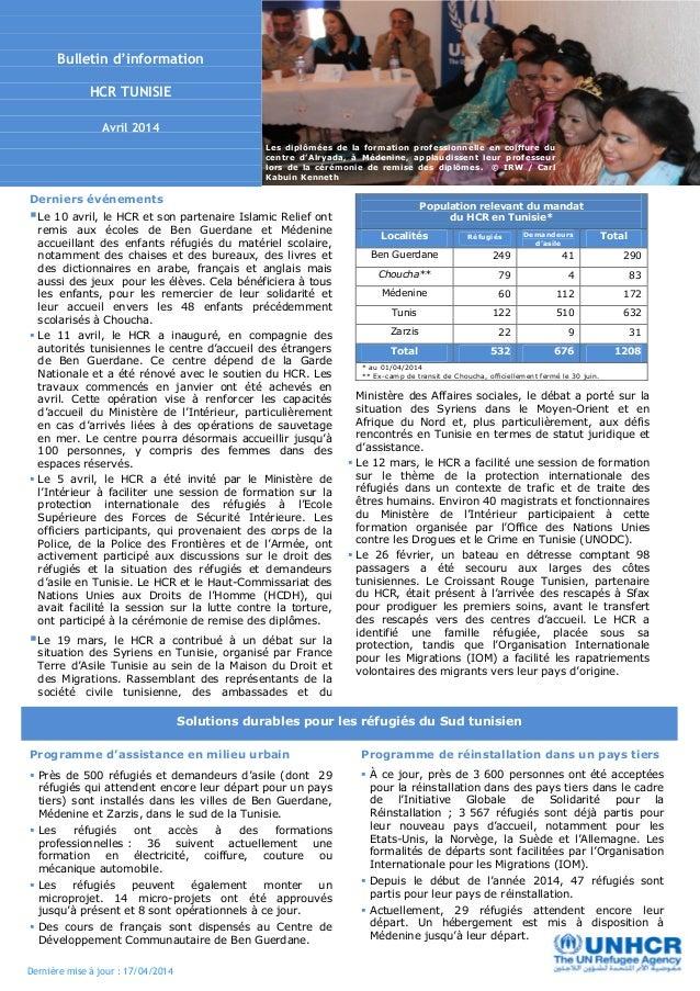 Dernière mise à jour : 17/04/2014 Solutions durables pour les réfugiés du Sud tunisien Les diplômées de la formation profe...
