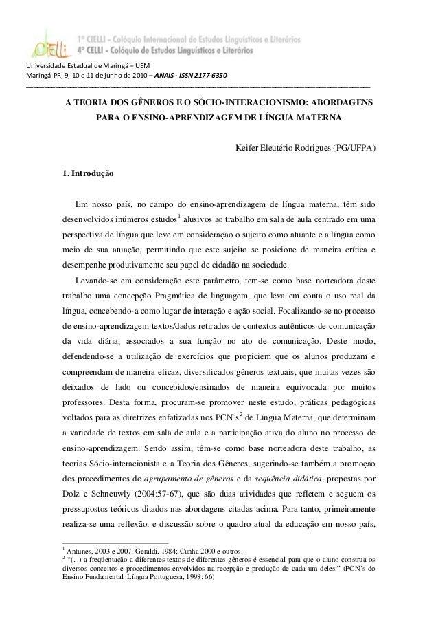 Universidade Estadual de Maringá – UEM Maringá-PR, 9, 10 e 11 de junho de 2010 – ANAIS - ISSN 2177-6350 __________________...