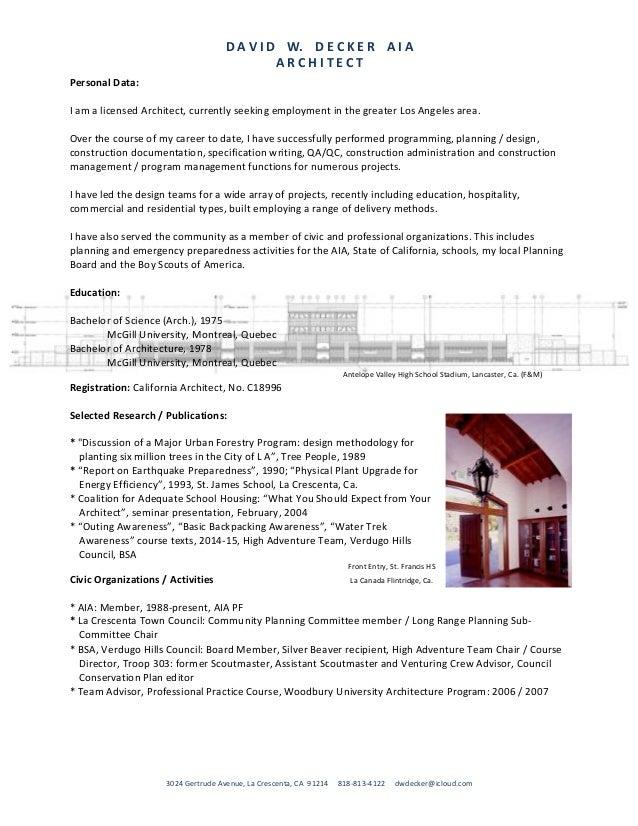 DAVIDW.DECKERAIA ARCHITECT 3024GertrudeAvenue,LaCrescenta,CA91214818-813-4122...