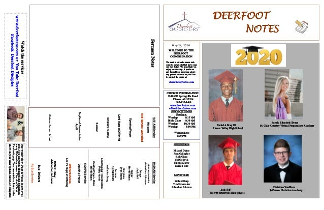 DEERFOOTDEERFOOTDEERFOOTDEERFOOT NOTESNOTESNOTESNOTES May 24, 2020 WELCOME TO THE DEERFOOT CONGREGATION We want to extend ...