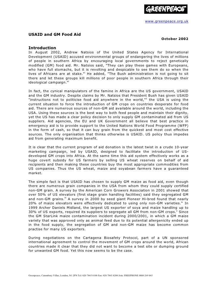www.greenpeace.org.ukUSAID and GM Food Aid                                                                                ...