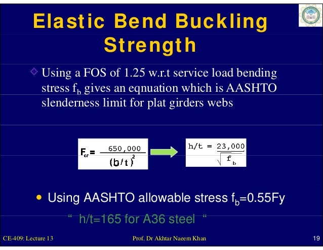 Elastic Bend Buckling                 Strength             Using a FOS of 1.25 w.r.t service load bending             stre...