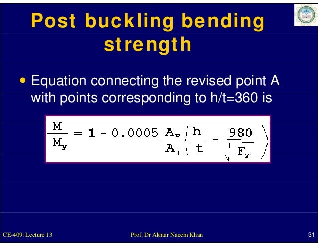 Post buckling bending                strength          Equation connecting the revised point A          with points corres...