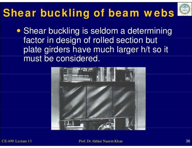 Shear buckling of beam webs             Shear buckling is seldom a determining             factor i d i             f t in...