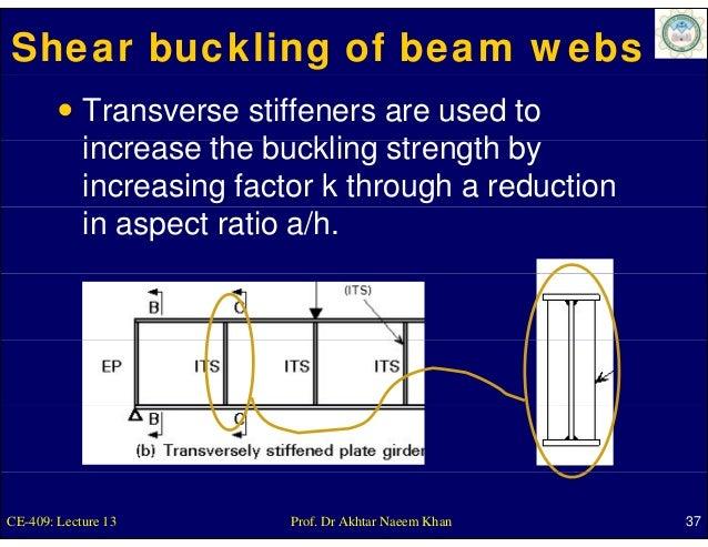 Shear buckling of beam webs            Transverse stiffeners are used to            increase th b kli strength b          ...