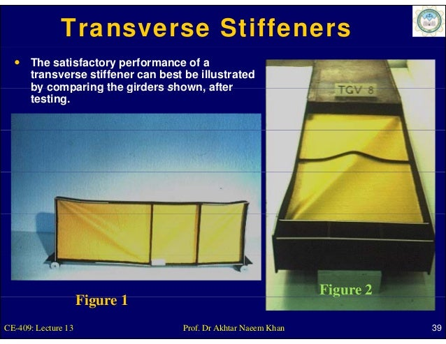 Transverse Stiffeners      The satisfactory performance of a      transverse stiffener can best be illustrated      by com...