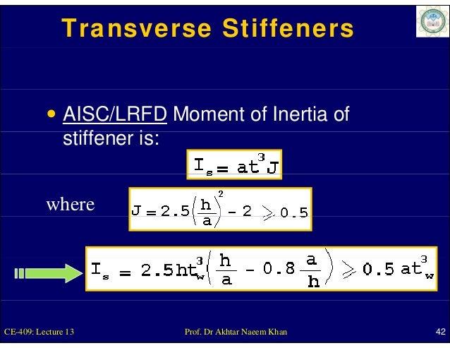 Transverse Stiffeners               AISC/LRFD Moment of Inertia of               stiffener is:                tiff     i  ...