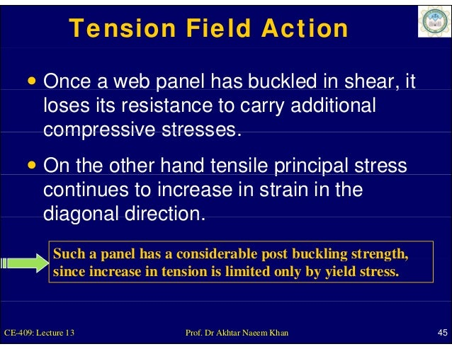 Tension Field Action         Once a web panel has buckled in shear, it                       p                          , ...