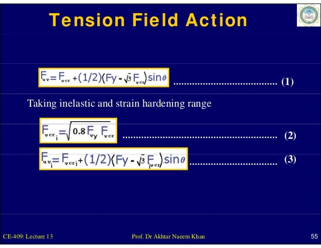 Tension Field Action                                                             (1)        Taking inelastic and strain ha...