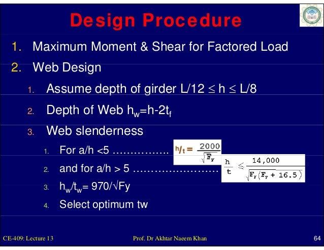 Design Procedure  1. Maximum Moment & Shear for Factored Load  2. Web D i  2 W b Design        1.              p      gird...