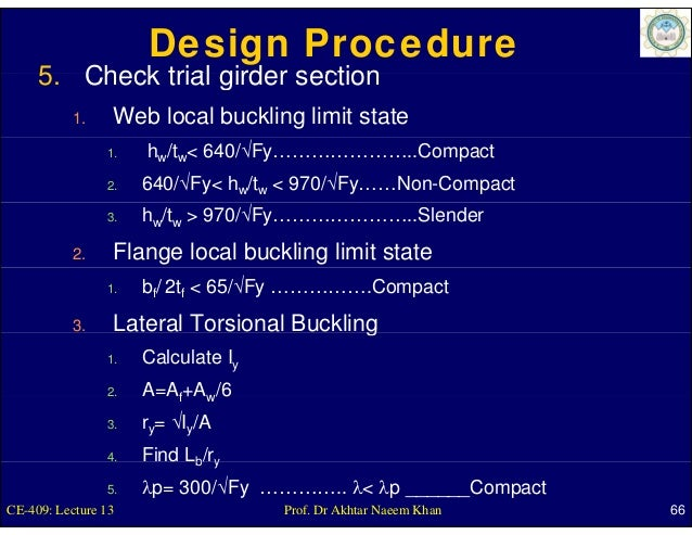 Design Procedure     5.     5 Check trial girder section           1.    Web local buckling limit state                1. ...