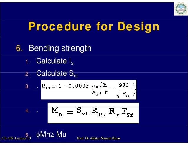 Procedure for Design        6. Bending strength              1.     Calculate Ix              2.              2      Calcu...