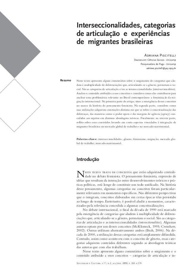 Interseccionalidades, categorias         de articulação e experiências         de migrantes brasileiras                   ...