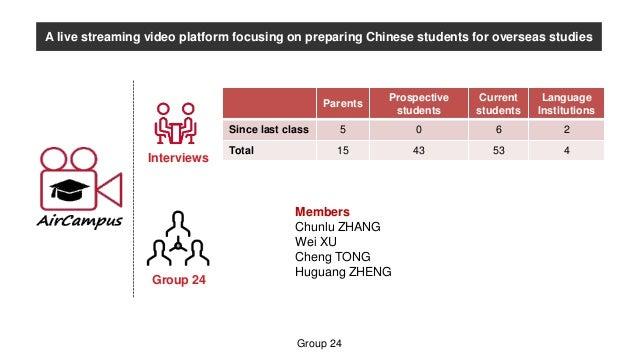 Group 24 Members Chunlu ZHANG Wei XU Cheng TONG Huguang ZHENG A live streaming video platform focusing on preparing Chines...