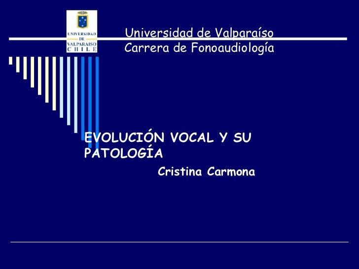 Universidad de Valparaíso    Carrera de FonoaudiologíaEVOLUCIÓN VOCAL Y SUPATOLOGÍA         Cristina Carmona