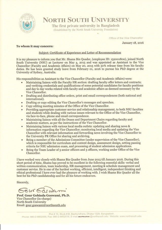 nsu experience letter and recom for asst  to vc