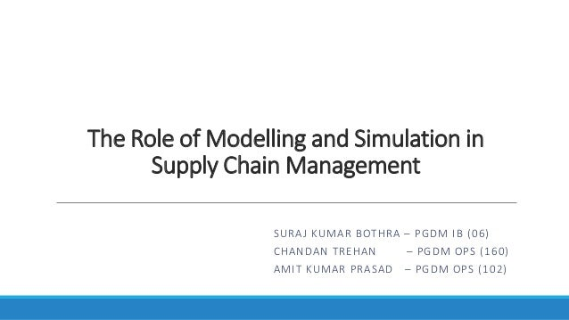 The Role of Modelling and Simulation in Supply Chain Management SURAJ KUMAR BOTHRA – PGDM IB (06) CHANDAN TREHAN – PGDM OP...