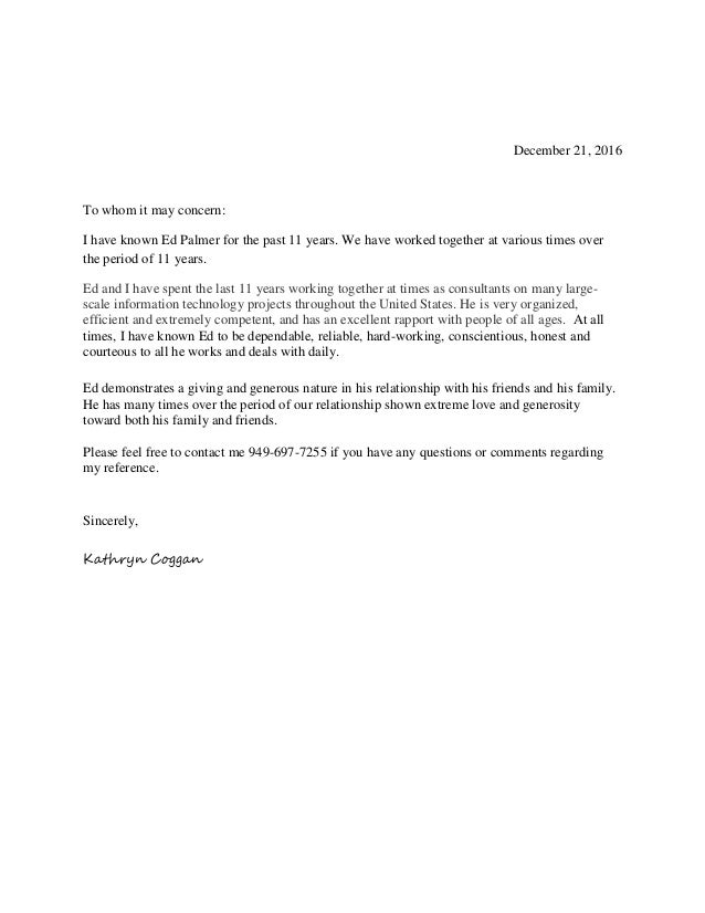 Character Reference Letter  Ed Palmer