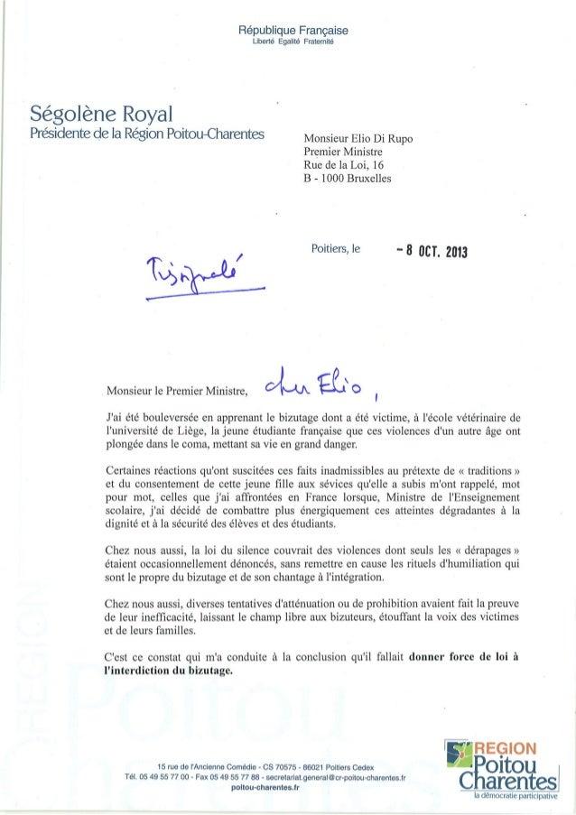 Lettre Ségolène Royal