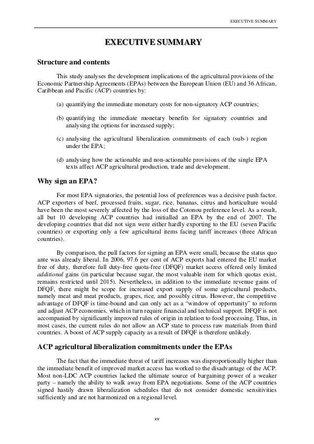 Economic Partnership Agreements Comparative Analysis Of The Agricul