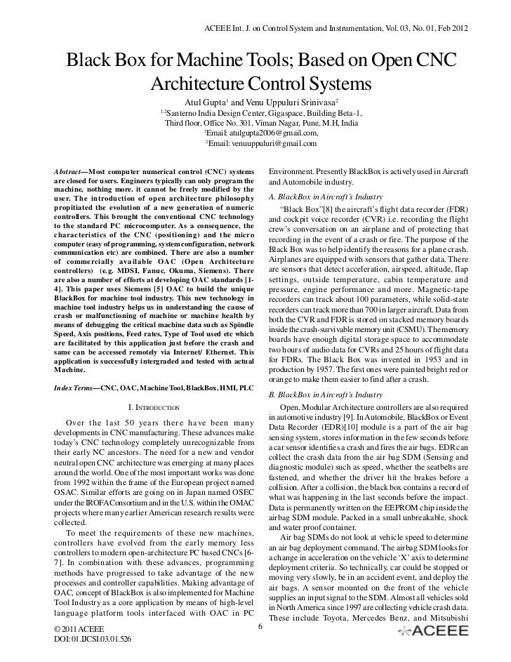 ACEEE Int. J. on Control System and Instrumentation, Vol. 03, No. 01, Feb 2012   Black Box for Machine Tools; Based on Ope...