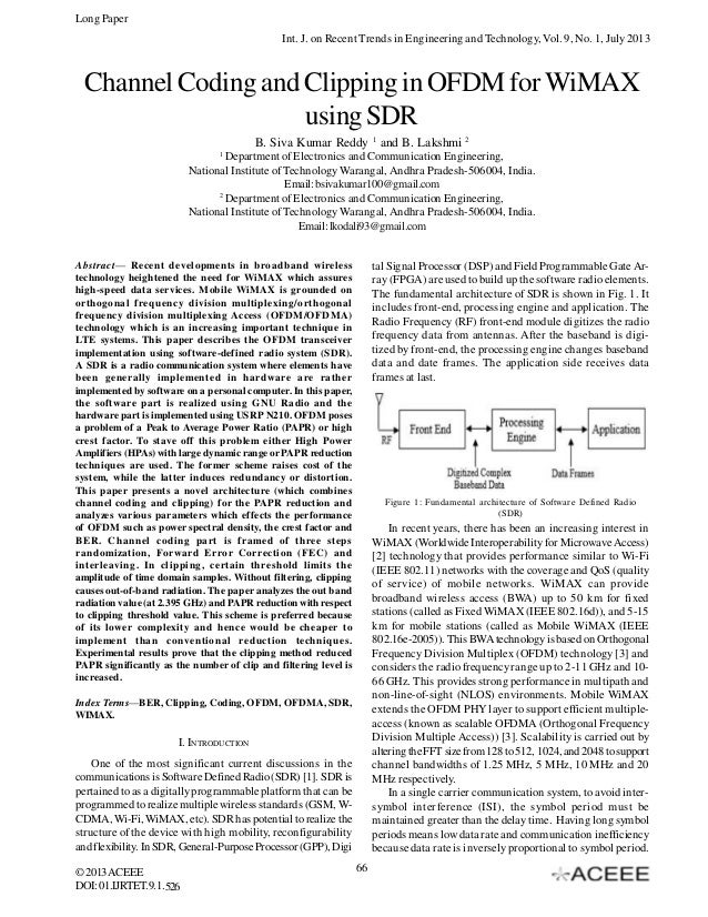 Long Paper Int. J. on Recent Trends in Engineering and Technology, Vol. 9, No. 1, July 2013  Channel Coding and Clipping i...