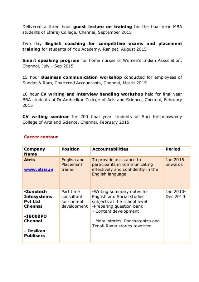 Outstanding Part Time Accounts Resume In Chennai Pictures ...
