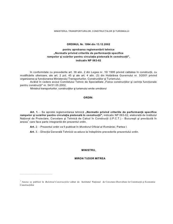 MINISTERULTRANSPORTURILOR,CONSTRUCŢIILORŞlTURISMULUI                                                   ORDINULNr.19...