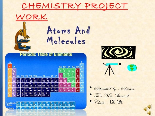CHEMISTRY PROJECT WORK  Atoms And Molecules  • Submitted by – Shivam • To – Mrs. Samnol • Class - IX 'A' 1