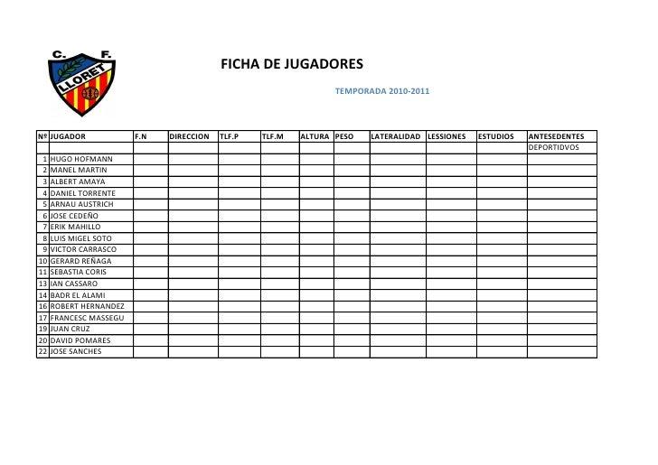FICHA DE JUGADORES                                                                  TEMPORADA 2010-2011    Nº JUGADOR     ...