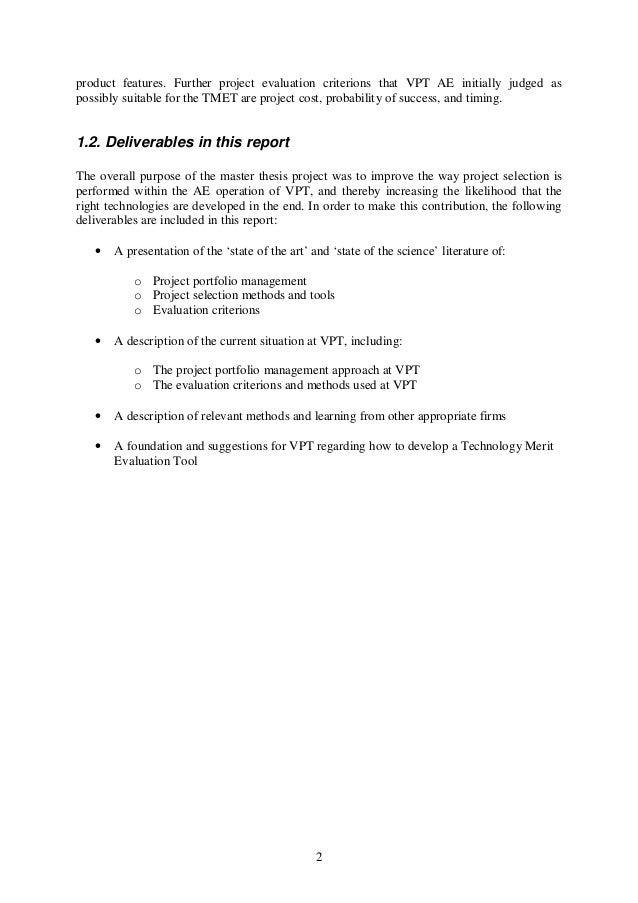 Master thesis project portfolio management byu admission essay