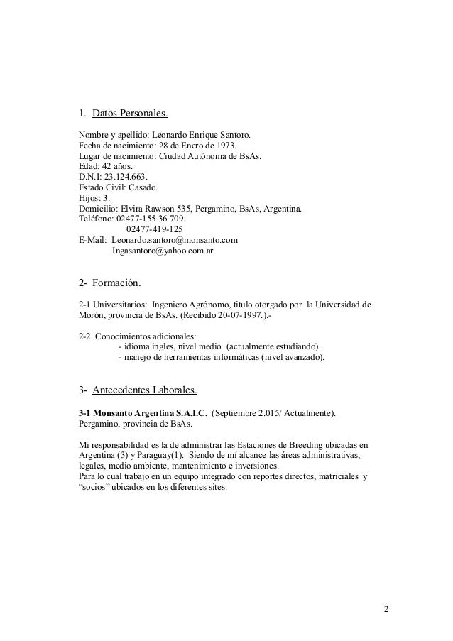 curriculum vitae de ingeniero agronomo argentina