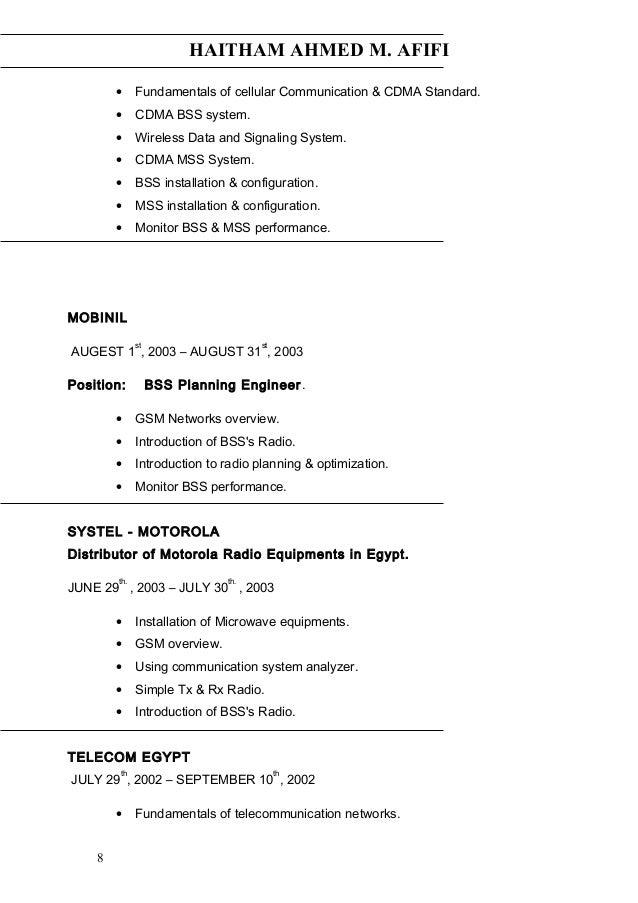 HAITHAM AHMED M. AFIFI • Fundamentals of cellular Communication & CDMA Standard. • CDMA BSS system. • Wireless Data and Si...