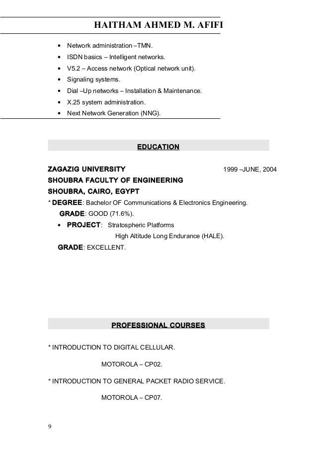 HAITHAM AHMED M. AFIFI • Network administration –TMN. • ISDN basics – Intelligent networks. • V5.2 – Access network (Optic...