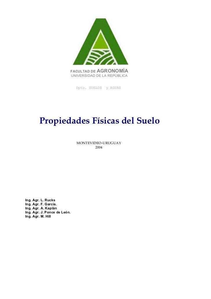 FACULTAD DE AGRONOMÍA                          UNIVERSIDAD DE LA REPÚBLICA                              Dpto. SUELOS   y A...