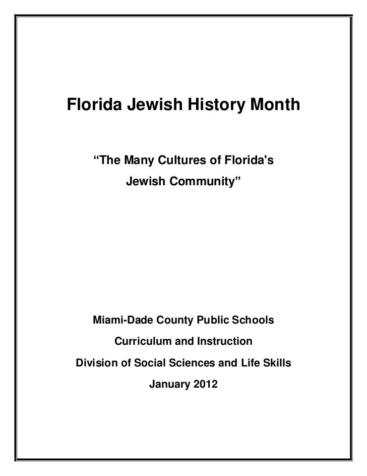 """Florida Jewish History Month    """"The Many Cultures of Floridas          Jewish Community""""    Miami-Dade County Public Scho..."""
