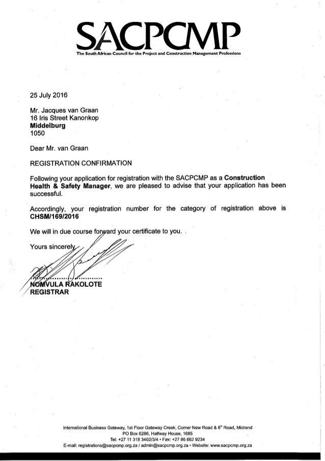 Registration Confirmation Letter J Van Graan
