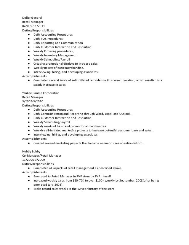 Outstanding Dollar General Resume Composition - Example Resume and ...