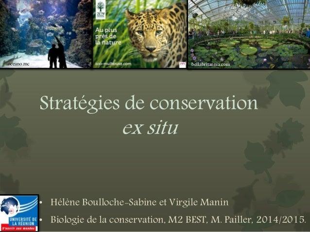 Stratégies de conservation ex situ • Hélène Boulloche-Sabine et Virgile Manin • Biologie de la conservation, M2 BEST, M. P...