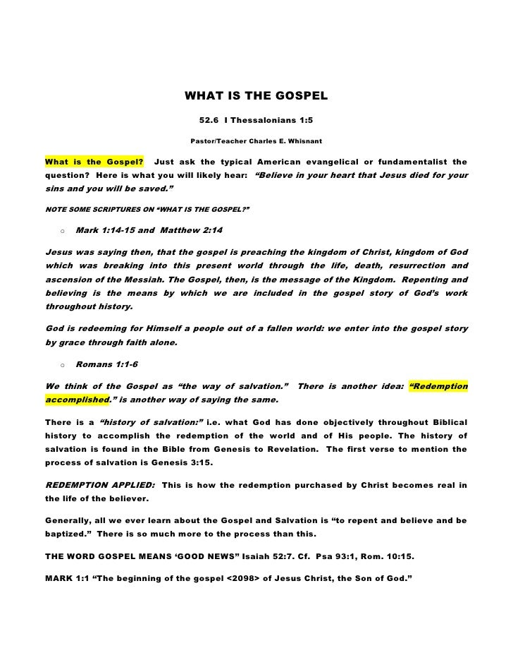 WHAT IS THE GOSPEL                                       52.6 I Thessalonians 1:5                                     Past...