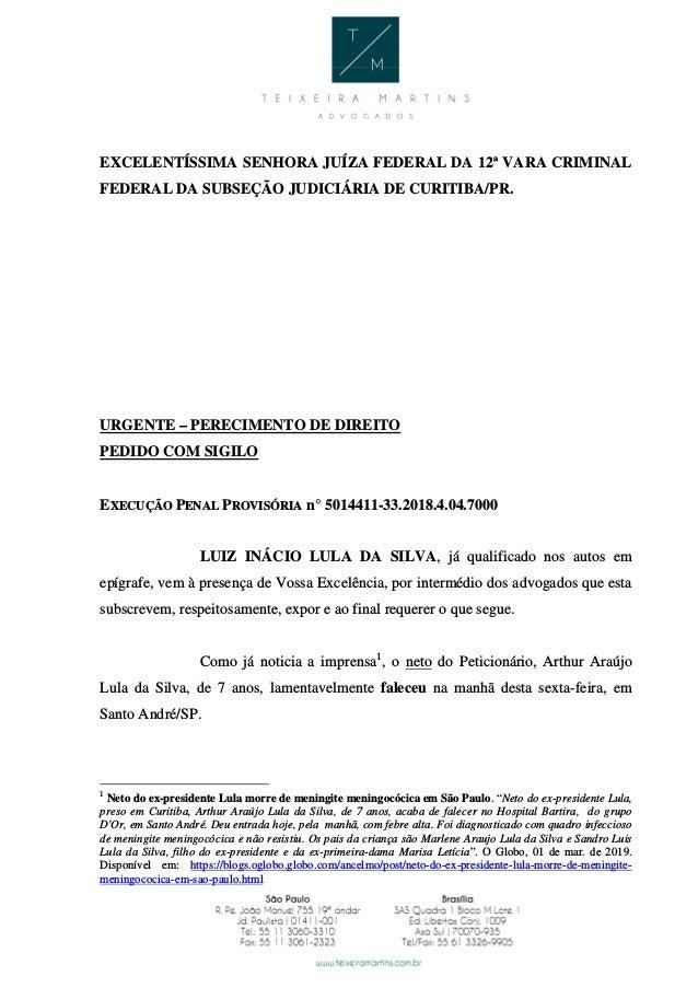 EXCELENTÍSSIMA SENHORA JUÍZA FEDERAL DA 12ª VARA CRIMINAL FEDERAL DA SUBSEÇÃO JUDICIÁRIA DE CURITIBA/PR. URGENTE – PERECIM...