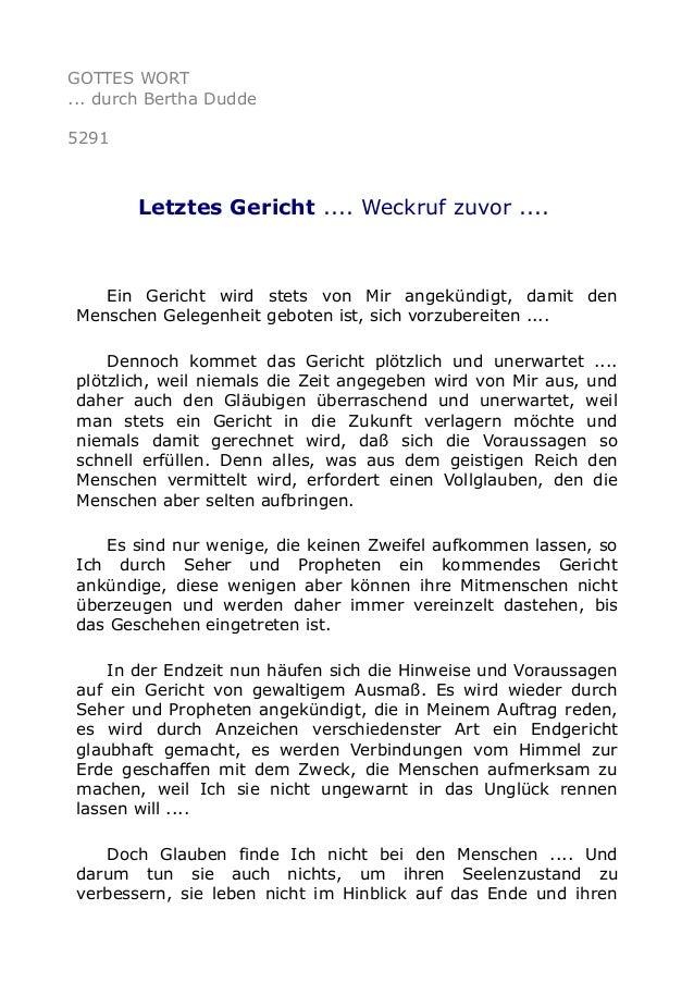 GOTTES WORT ... durch Bertha Dudde 5291 Letztes Gericht .... Weckruf zuvor .... Ein Gericht wird stets von Mir angekündigt...