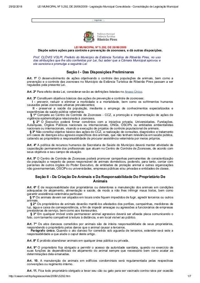 25/02/2018 LEI MUNICIPAL N� 5.292, DE 26/06/2009 - Legisla��o Municipal Consolidada - Consolida��o de Legisla��o Municipal...