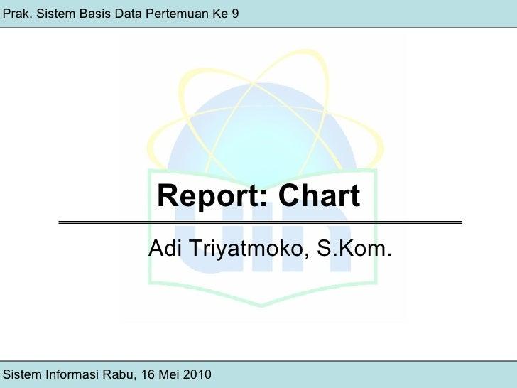 Report: Chart Prak. Sistem Basis Data Pertemuan Ke 9 Sistem Informasi Rabu, 16 Mei 2010 Adi Triyatmoko, S.Kom.